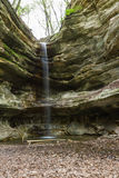 St. Louis Canyon waterfall. In Starved Rock State Park in Illinois shot in springtime with a small water trickle Royalty Free Stock Photos