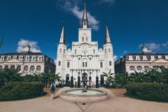 St. Louis Cathedral across Jackson Square. royalty free stock photography