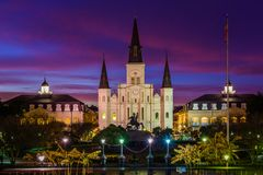Free St. Louis Cathedral At Night, In The French Quarter, New Orleans, Louisiana Stock Photos - 147444183