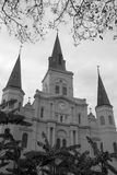 St. Louis Cathedral in city New Orleans. Historic buildings St. Louis Cathedral in city New Orleans, Louisiana USA. Black and white picture stock photo