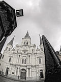 St. Louis Cathedral in the French Quarter of New Orleans LA B&W