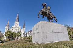 St Louis Cathedral, Jackson Square en Monument in Frans Kwart, New Orleans, Louisiane royalty-vrije stock foto's