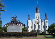 The St Louis Cathedral in Jackson Square of the French Quarter in New Orleans Louisiana. The St Louis Cathedral and water fountain in Jackson Square of the royalty free stock photos