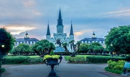 St. Louis Cathedral and Jackson Square, New Orleans, LA royalty free stock image