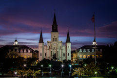 St. Louis Cathedral in Jackson Square in New Orleans, Louisiana. At Night Stock Photography