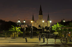 St Louis Cathedral and Jackson Square at Night in New Orleans Stock Image
