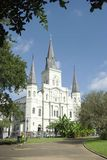 St. Louis Cathedral, New Orleans. St. Louis Cathedral photographed from Jackson Square in the New Orleans French Quarter, Louisiana.  This building is iconic of Stock Images