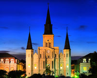 St. Louis Cathedral - New Orleans. St. Louis Cathedral and Jackson Square at dusk in New Orleans, LA Stock Photos