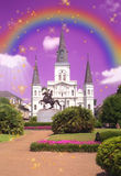 St. Louis Cathedral, New Orleans art work Stock Photos