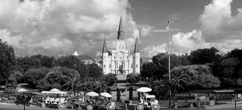 St. Louis Cathedral panorama. St. Louis Cathedral in Black and white Royalty Free Stock Image