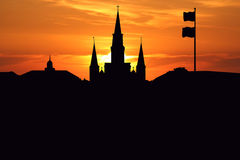 St Louis Cathedral at sunset. St Louis Cathedral Jackson Square New Orleans at sunset illustration Royalty Free Stock Photography