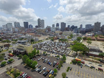 St. Louis Cemetery No. 1 in New Orleans and Cityscape with business skyscrapper in background Stock Photo