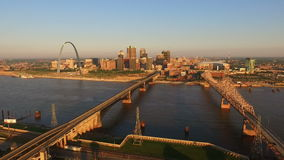 St Louis downtown city skyline gateway arch midwest urban landscape mississippi river. The city called the Gateway to the West is seen here with the river stock video