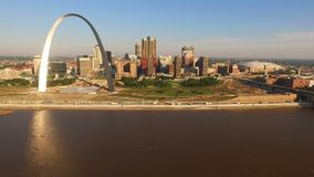 St Louis Downtown City Skyline Gateway Arch Midwest Urban Landscape Mississippi River. The city called the Gateway to the West is seen here with the river stock video footage