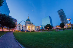 St. Louis downtown skyline  buildings at night Stock Photos