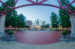 St. Louis downtown skyline  buildings at night Royalty Free Stock Image