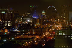 St. Louis and. Evening view of St. Louis, Missouri and the Gateway Arch Stock Image