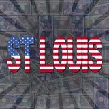 St Louis flag text on dollars sunburst illustration. St Louis flag text on dollars sunburst abstract background illustration Royalty Free Stock Image