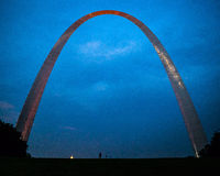 St Louis  Gateway Arch by night Stock Photo