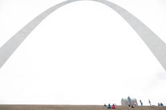 St. Louis Gateway Arch and Tourists. View of the St. Louis Arch - Gateway to the West - the Jefferson National Expansion Memorial (U.S. National Park Service) stock photos