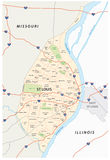 St louis map. Map of st louis with main roads and neighborhoods Royalty Free Stock Photo