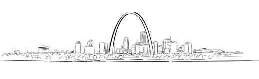 St. Louis, Missouri, bosquejo a mano del esquema stock de ilustración