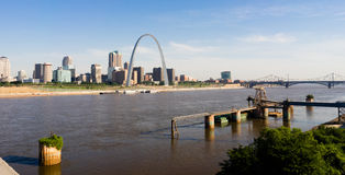 St Louis Missouri Downtown City Skline Arch Gateway West Stock Photo