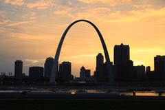 St. Louis, Missouri and the Gateway Arch.  Stock Photo