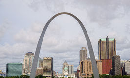 St.Louis Missouri gateway arch,architecture,clouds,sky. Wide angle view of the St.Louis Missouri gateway arch with clouds and blue sky Royalty Free Stock Images