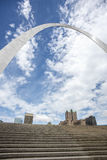 St.Louis Missouri gateway arch,architecture,clouds,sky. Wide angle view of the St.Louis Missouri gateway arch with clouds and blue sky Stock Image