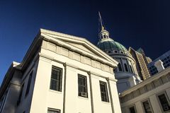 St Louis, Missouri, United States - circa 2016 - Historic Old Courthouse Downtown with American Flag. St Louis Missouri Historic Old Courthouse Downtown with Stock Photo