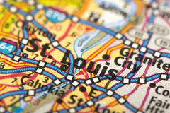St Louis, Missouri no mapa fotografia de stock royalty free