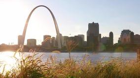 St. Louis, Missouri skyline and Gateway Arch stock video