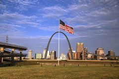 The St. Louis, Missouri skyline. St. Louis, Missouri Skyline and the Gateway Arch Stock Image