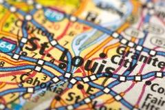 St Louis, Missouri sur la carte photographie stock libre de droits