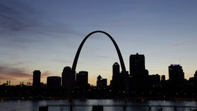 St. Louis, Missouri. A Time-Lapse of City of St. Louis Skyline at Night, Missouri stock footage