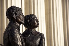 St Louis, Missouri, United States - circa 2916 - Dred Scott Statue in Front of Old Courthouse. Dred Scott and Harriet Robinson Scott Bronze Statue in Front of Stock Photography