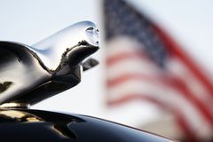 St Louis, Missouri, United States - circa 2017 -Flying Lady Chrome Hood Ornament 1940s Cadillac American Flag. Flying Lady Hood Ornament 1940s Cadillac and Stock Photo