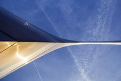 St. Louis, Missouri, United States-circa 2014-Looking up at the Gateway Arch leg from directly underneath with blue sky. Looking up at the Gateway Arch from the royalty free stock photos