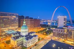 St. Louis, Missouri, USA downtown cityscape with the arch and courthouse. At night royalty free stock photos