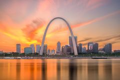 St. Louis, Missouri, USA Skyline. St. Louis, Missouri, USA downtown cityscape with the arch and courthouse at dusk stock photography
