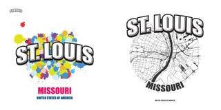 St. Louis, Missouri, zwei Logografiken lizenzfreie abbildung