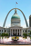 St Louis-Old Courthouse & Arch. The Gateway Arch as backdrop to the Old Courthouse in St. Louis. Missouri Royalty Free Stock Photos