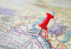 St Louis. Red locator pin in a map of St Louis Missouri Royalty Free Stock Photography
