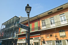 St. Louis road sign and lamp post in French Quarter of New Orleans, Louisiana Stock Photo