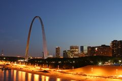 St.Louis Sky Line 3196. The Gateway Arch and St.Louis sky line at eveningin royalty free stock photo
