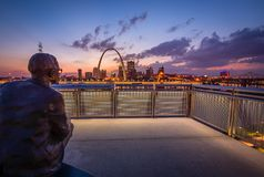 The St. Louis skyline at dusk stock photo