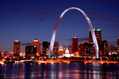 St.louis skyline at night Stock Photos