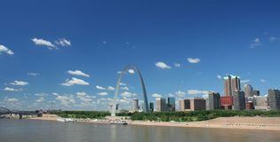St Louis skyline panoramic. Under a beautiful daytime sky Royalty Free Stock Photo