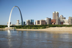 St Louis, skyline photography. St Louis, Missouri Skyline along the Mississippi River Royalty Free Stock Image